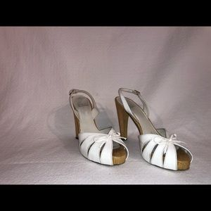 7.5 White Patent Stuart Weitzman Sling Back Heels